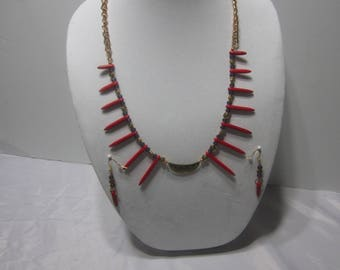 Red Spikes Necklace Set with pendant