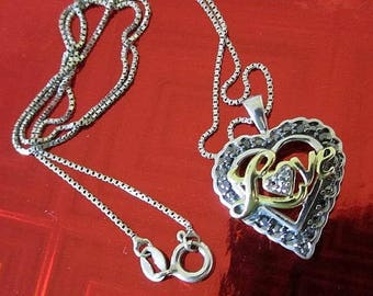 Black Crystal Love Heart Sterling Silver Necklace