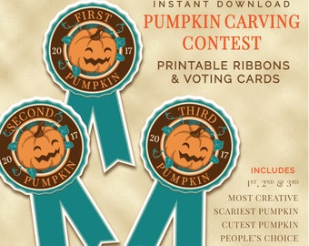 Pumpkin Carving Contest Ribbons and Vote Cards, Instant Download, Bake-Off, Pumpkin Carving Contest, Ribbons, Voting Cards, Printable