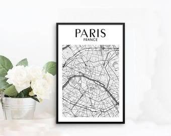 Paris Print, Paris Decor, Paris Map, Paris Wall Art, Paris Poster, Paris Framed Wall Art, Framed Poster, Map of Paris Framed Wall Decor