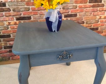 Gently Distressed End Table Chalk Paint Living Room Furniture