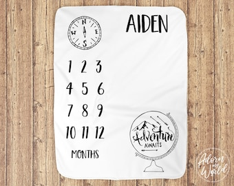 Baby Milestone Blanket, Milestone Blanket Boy, Baby Boy Gift, Baby Boy Blanket, Baby Month Blanket, Monthly Baby Blanket, Baby Boy Milestone