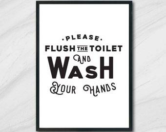 Toilet Sign, Funny Bathroom Print, Flush Sign, Flush Print, Vector, SVG, Cut File, Printable, Print, Sticker, Wall Art, Silhouette Cameo