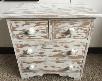 Gorgeous 4 drawer pine chest hand painted and distressed with Annie Sloan Old White Chalk Paint