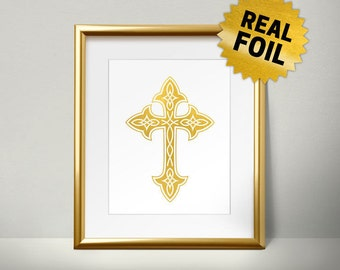Christian Symbols, the cross Wall Art, Gold Cross, Religious Symbols, Jesus on the Cross, Real gold foil paper, gold foil printing,