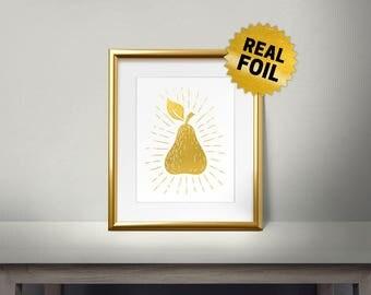 Vintage Pear, Real Gold Foil Print, Kitchen Decor, Kitchen Wall Decor, Framed Wall Decor, Leaves, Pear Leaf, Shiny Foil, Printing,