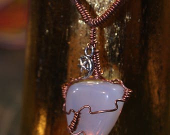 Opalite Tumblestone  Copper Wrapped Faux Suede Handmade Slip Knot Vegan Necklace