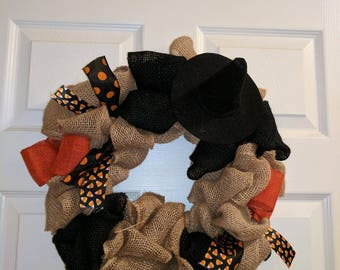 Halloween Wreath, Burlap Wreath, Holiday Decor, Door Decor, Black and Orange Wreath, Witch Hat, Holiday Sale, Wreaths