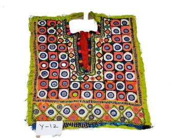 Vintage Small Banjara Applique Sewing Fabric Small Mirror Work Patch Embroidery Mirror Work Vintage Sewing Fabric