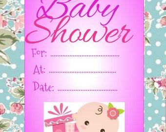 Girl baby shower invite with floral border