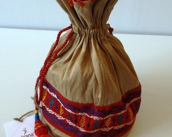 Mixed Cotton Brown Batua / Ladies Pouch / Coin Purse, Nakshi Kantha Stitch on Red