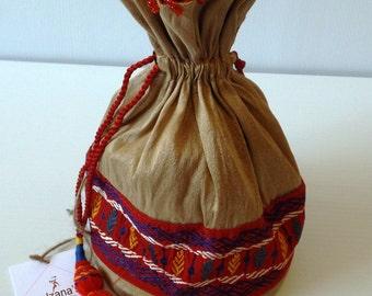 Mixed Cotton Brown Batua / Ladies Pouch / Coin Purse, Nakshi Kantha Stitch on Red