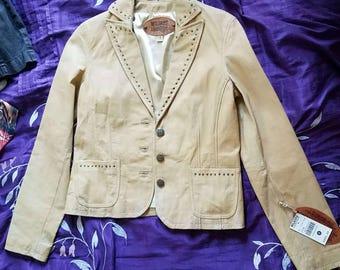 Beige Wilson's Leather Jacket - Women's Small