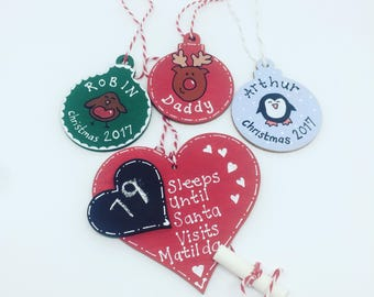 Hand Painted Personalised Christmas Decoration