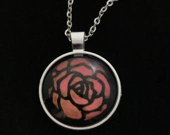 Pink and Black Rose Glass Pendant Necklace