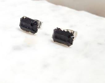 Black Tourmaline Resin Stud Earrings