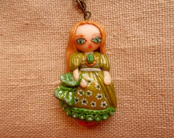 Victorian Kawaii Girl, Victorian Doll necklace, Victorian Doll pendant, Kawaii Victorian Doll, Victorian Chibi Doll, Chibi Doll necklace