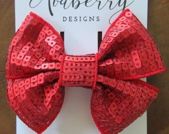 Matte Red Square Sequin Pinwheel Bow