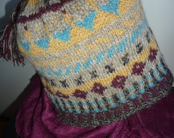Fair Isle hat, hand knitted.   wool natural shades.