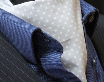 Cravat Ascot UK Made Silver Grey / White Polka Dot+Hanky.Premium Cotton.