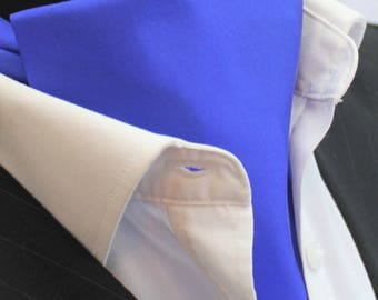 Cravat Ascot.100% Silk Front UK Made. Cobalt Blue Satin Silk + matching hanky.