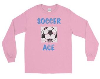 Soccer Ace Distressed All Jersey Knit Tee Shirt Long Sleeve T-Shirt