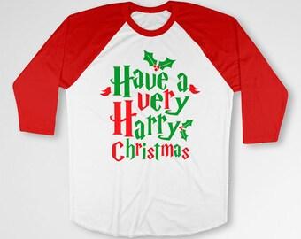 Funny Holiday T Shirt Christmas Present Xmas Clothing Merry Christmas Wizard TShirt Xmas Outfit X-Mas 3/4 Sleeve Baseball Raglan Tee TEP-69