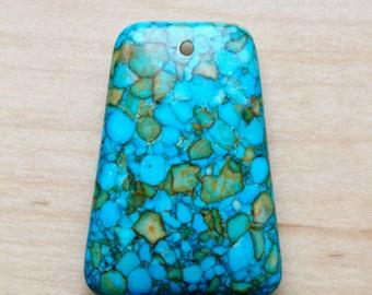 Turquoise pendant, raw turquoise pendant, rugged turquoise pendant, turquoise trapezoid pendant, P0011