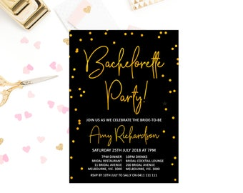 Gold bachelorette party invitations printable, black bachelorette party invites, gold foil bachelorette party invitation, digital invite B07