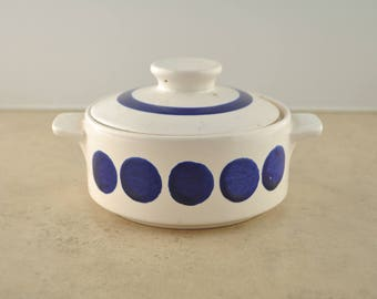 Vintage Ceramic Casserole Dish with Lid Blue and White Polka-Dots