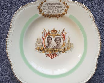 Woods Ivory Ware 1939 Royal Commemorative King George VI & Queen Elizabeth Plate