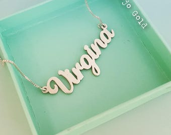 Virgina Style Name Necklace and Chain/Sterling Silver Name Necklace/Fashion Style/Personalized Jewelry/Custom Made/Hand Made/Christmas /Gift