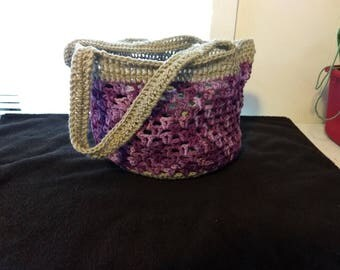 Purple and grey crochet market tote