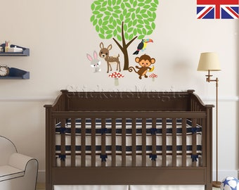 Animals Tree Nursery Stickers,Repositionable Fabric Wall Decal, Removable  Vinyl Wall Stickers Kids, Part 28