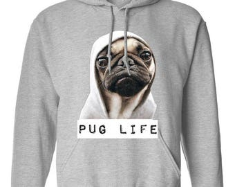Pug Life Pug Dog Funny Trend Clothing Adult Unisex Hoodie Hooded Sweatshirt Best Seller Designed Hoodies for Women and Men