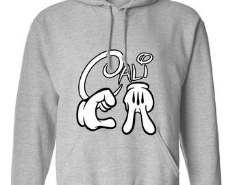 Cali CA California Mickey Mouse Hand Design Clothing Adult Unisex Hoodie Hooded Sweatshirt Best Seller Designed Hoodies for Women and Men