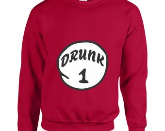 Drunk 1 Funny Clothing Christmas Gift Adult Unisex Sweatshirt Printed Crew Neck Sweater for Women and Men