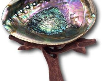 Premium Abalone Shell with Wood Stand - for smudging, burning sage smudge incense resin, energy clearing, cleansing, house warming gift