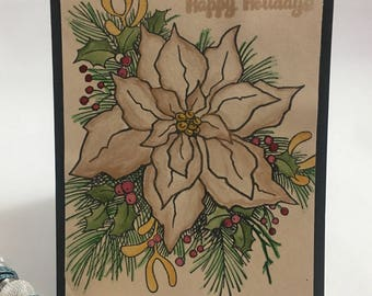 Water Color Poinsettia Holiday Card