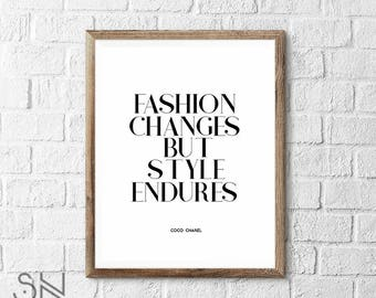 Coco Chanel quote Wall Art Inspirational Art Print INSTANT DOWNLOAD printable art 3 sizes High Quality JPG Included