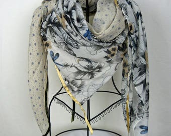 Large beige and white square scarf, collection 180, large shawl, beige, white, beige scarf, winter scarf, butterfly