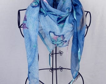 Square scarf collection 120, shawl, scarf, blue scarf, woman, heart, pzpillons scarf
