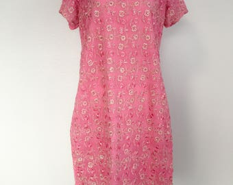 1980s Vintage Embroidered Gypsy Boho Dress Ethnic Dress Silk Kurti India Dress Silk Embroidered Dress Pink Silver Dress Womens Vintage Dress