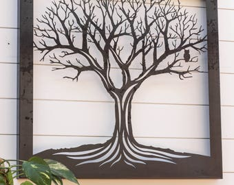 Tree Cutout Metal Hanging Wall Art Sign Laser Cut Indoor Outdoor Home Decor Den Living Room Nature Owl family