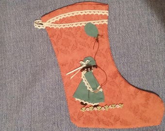 Little girl's sock with balloon, handmade in fabric and lace macramé, H. cm. About 30