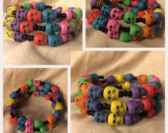 Skull Themed Wrap Bracelets - Hand-Beaded Coil Bracelets - Crosses and Skulls - Roses and Hearts and Stars - Funky Memory Wire Bracelets