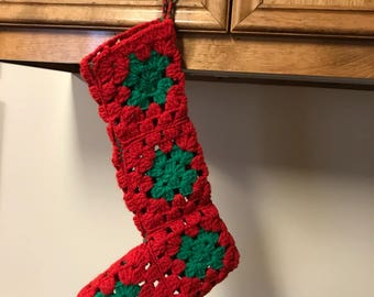 Vintage Crocheted Stocking (red and green) Christmas