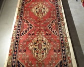 "Vintage Persian Rug Runner 1940's MESHKIN 3' 7"" x 10' 6"" Handmade, Hand-knotted, Natural Dyes, Bohemian, Boho Chic, Made in Iran 898m"