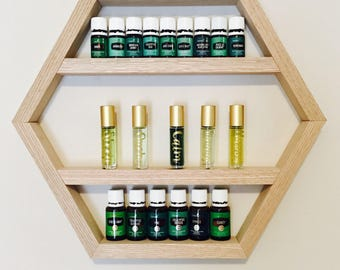 The Raina Shelf, Hexagon Essential Oil Shelf, Hexagon Shelf, Essential Oil Shelf, Wood Shelf, Essential Oil Storage