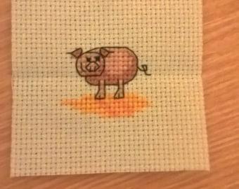 Handmade Pig Cross Stitch